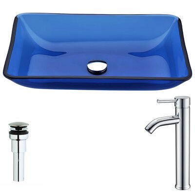 Harmony Glass Circular Vessel Bathroom Sink with Faucet Faucet Finish: Polished Chrome