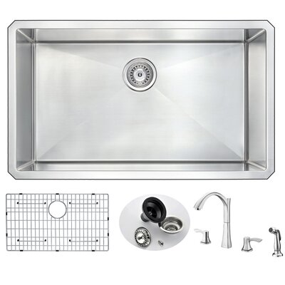 Vanguard 32 x 19 Single Bowl Undermount Kitchen Sink and Faucet Set with Drain Assembly Faucet Finish: Brushed Nickel