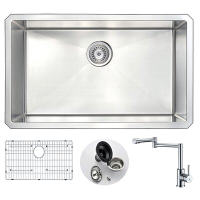 Vanguard 30 x 18 Single Bowl Undermount Kitchen Sink and Faucet Set with Drain Assembly