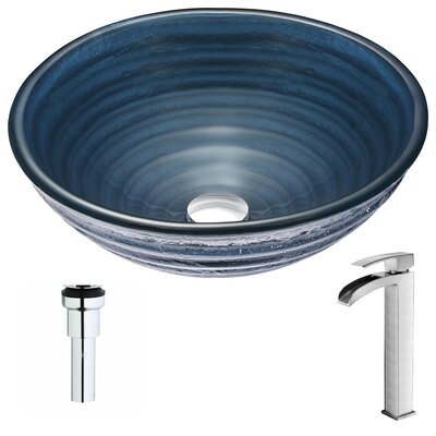 Tempo Deco-Glass Circular Vessel Bathroom Sink Faucet Finish: Brushed Nickel