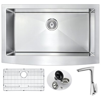 Elysian 35.88 x 20.75 Single Bowl Farmhouse Kitchen Sink with Faucet and Drain Assembly  Faucet Finish: Brushed Nickel