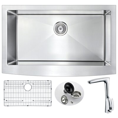 Elysian 35.88 x 20.75 Single Bowl Farmhouse Kitchen Sink with Faucet and Drain Assembly  Faucet Finish: Polished Chrome