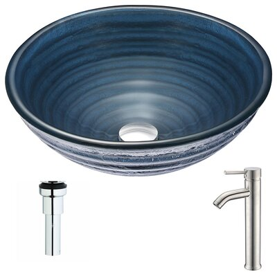 Tempo Glass Circular Vessel Bathroom Sink with Faucet Faucet Finish: Brushed Nickel
