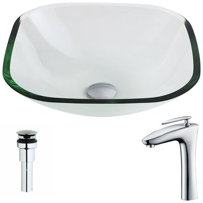 Cadenza Glass Circular Vessel Bathroom Sink with Faucet