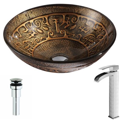 Alto Deco-Glass Circular Vessel Bathroom Sink Faucet Finish: Brushed Nickel