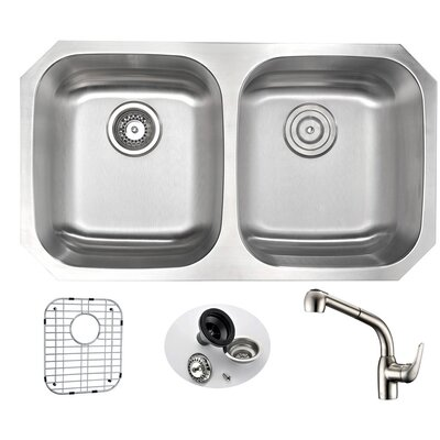 Moore 32.25 x 18.5 Double Bowl Undermount Kitchen Sink with Faucet Faucet Finish: Brushed Nickel