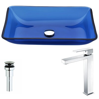 Harmony Glass Rectangular Vessel Bathroom Sink with Faucet Faucet Finish: Polished Chrome