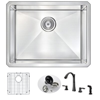 Vanguard 23 x 18 Single Bowl Undermount Kitchen Sink with Faucet Faucet Finish: Oil Bronze