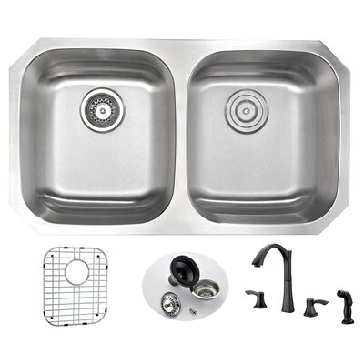 Moore 32.25 x 18.5 Double Bowl Undermount Kitchen Sink with Faucet and Drain Assembly Faucet Finish: Oil Rubbed Bronze