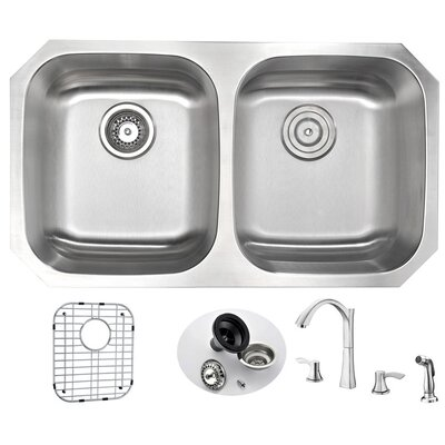 Moore 32.25 x 18.5 Double Bowl Undermount Kitchen Sink with Faucet and Drain Assembly Faucet Finish: Brushed Nickel