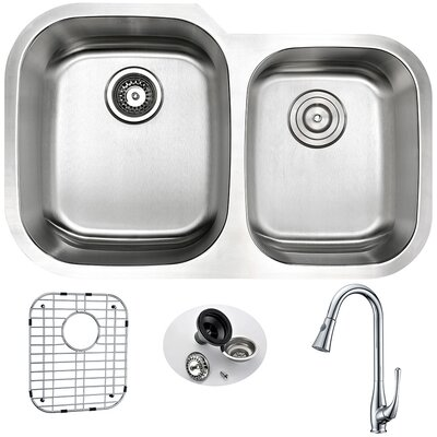 Moore 32 x 20.75 Double Bowl Undermount Kitchen Sink with Faucet, Sink Grid and Drain Assembly Faucet Finish: Polished Chrome