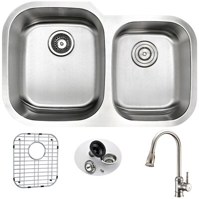 Moore 32 x 20.75 Double Bowl Undermount Kitchen Sink with Faucet, Sink Grid and Drain Assembly Faucet Finish: Brushed Nickel