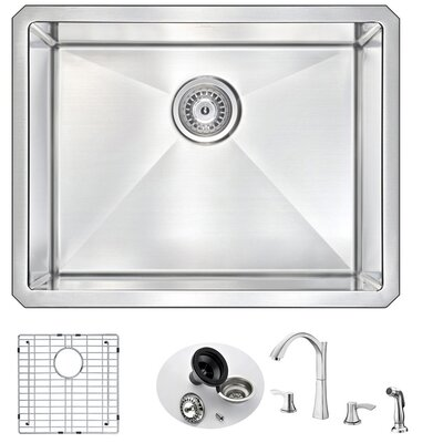 Vanguard 23 x 18 Single Bowl Undermount Kitchen Sink with Faucet Faucet Finish: Brushed Nickel