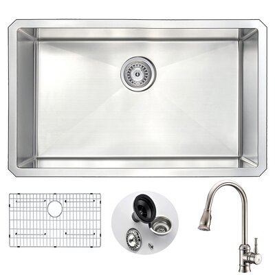 Vanguard 30 x 18 Single Bowl Undermount Kitchen Sink with Faucet and Drain Assembly Faucet Finish: Brushed Nickel