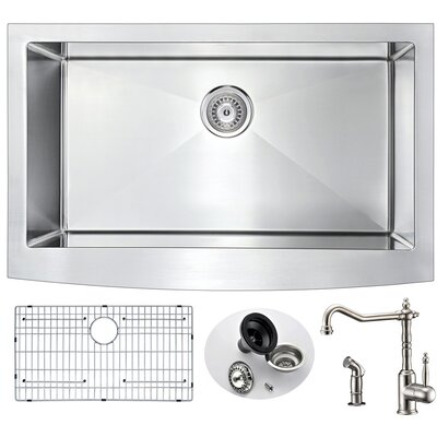 Elysian 35.875 x 20.75 Single Bowl Farmhouse Kitchen Sink with Faucet and Drain Assembly Faucet Finish: Brushed Nickel