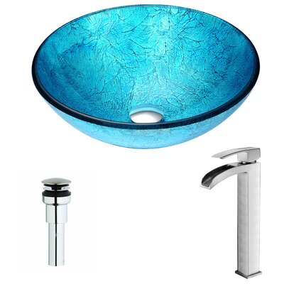 Accent Glass Circular Vessel Bathroom Sink with Faucet Faucet Finish: Brushed Nickel