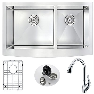 Elysian 35.875 x 20.75 Double Bowl Farmhouse Kitchen Sink with Faucet and Drain Assembly Faucet Finish: Polished Chrome