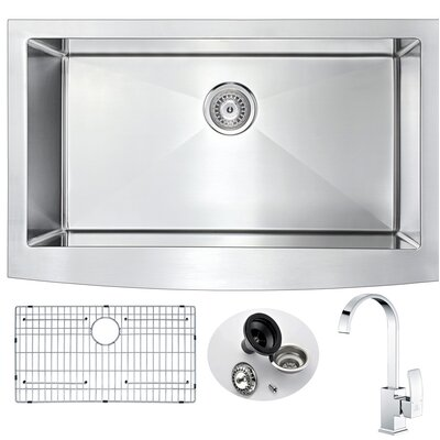 Elysian 35.875 x 20.75 Single Bowl Farmhouse Kitchen Sink with Faucet and Drain Assembly Faucet Finish: Polished Chrome