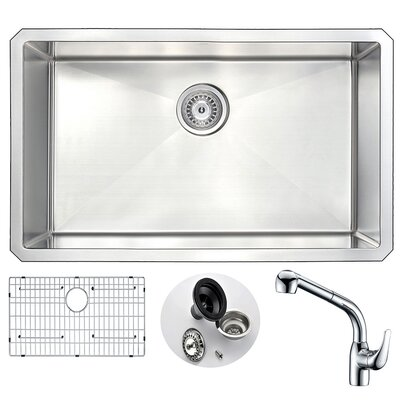 Vanguard 30 x 18 Single Bowl Undermount Kitchen Sink with Faucet and Drain Assembly Faucet Finish: Chrome