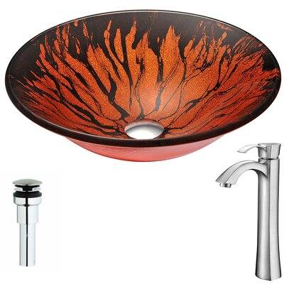Forte Glass Circular Vessel Bathroom Sink with Faucet Faucet Finish: Brushed Nickel