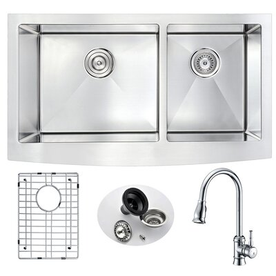 Elysian Double Bowl 32.875 x 20.75 Farmhouse Kitchen Sink with Faucet Faucet Finish: Polished Chrome