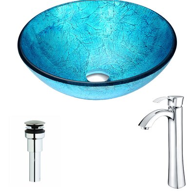 Accent Glass Circular Vessel Bathroom Sink with Faucet Faucet Finish: Chrome
