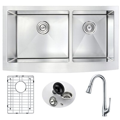Elysian Double Bowl 32.875 x 20.75 Farmhouse Kitchen Sink with Faucet and Drain Assembly Faucet Finish: Polished Chrome
