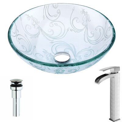 Vieno Glass Circular Vessel Bathroom Sink with Faucet Faucet Finish: Brushed Nickel