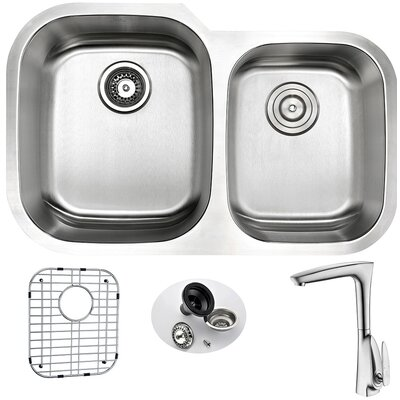 Moore 32 x 20.75 Double Bowl Undermount Kitchen Sink with Faucet and Drain Assembly Faucet Finish: Brushed Nickel