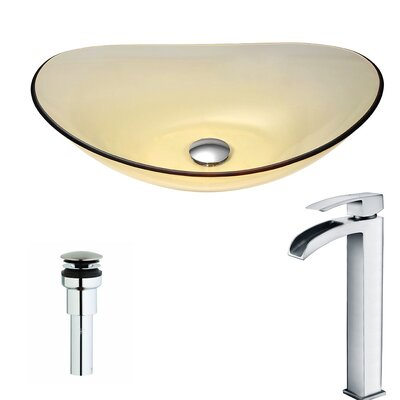 Mesto Glass Circular Vessel Bathroom Sink with Faucet Faucet Finish: Polished Chrome