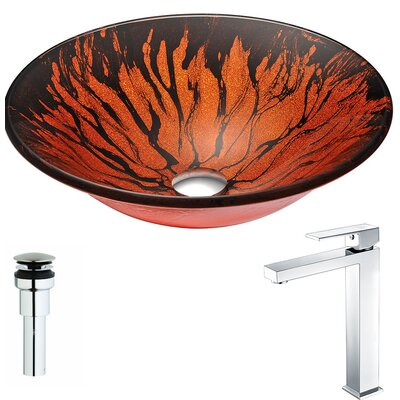 Forte Glass Circular Vessel Bathroom Sink with Faucet Faucet Finish: Polished Chrome
