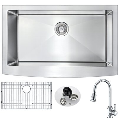 Elysian 32.88 x 20.75 Single Bowl Farmhouse Kitchen Sink with Faucet and Drain Assembly Faucet Finish: Polished Chrome