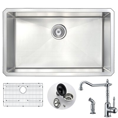 Vanguard 30 x 18 Single Bowl Undermount Kitchen Sink with Faucet and Drain Assembly Faucet Finish: Polished Chrome