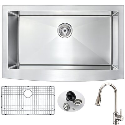 Elysian 32.88 x 20.75 Single Bowl Farmhouse Kitchen Sink with Faucet and Drain Assembly Faucet Finish: Brushed Nickel