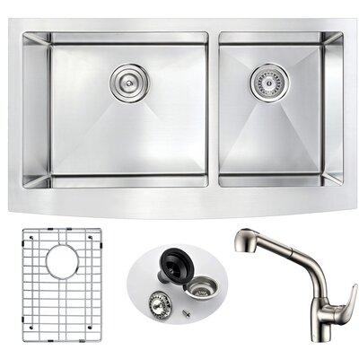 Elysian Double Bowl 32.875 x 20.75  Farmhouse Kitchen Sink with Faucet Faucet Finish: Brushed Nickel