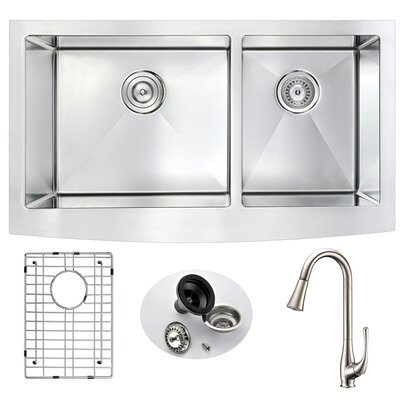 Elysian Double Bowl 32.875 x 20.75 Farmhouse Kitchen Sink with Faucet and Drain Assembly Faucet Finish: Brushed Nickel