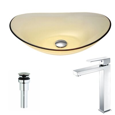 Mesto Glass Oval Vessel Bathroom Sink with Faucet Faucet Finish: Polished Chrome