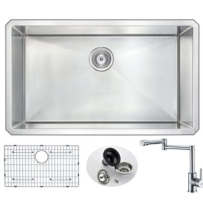 Vanguard 32 x 19 Single Bowl Undermount Kitchen Sink with Faucet and Drain Assembly