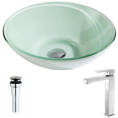 Sonata Glass Circular Vessel Bathroom Sink with Faucet Faucet Finish: Brushed Nickel