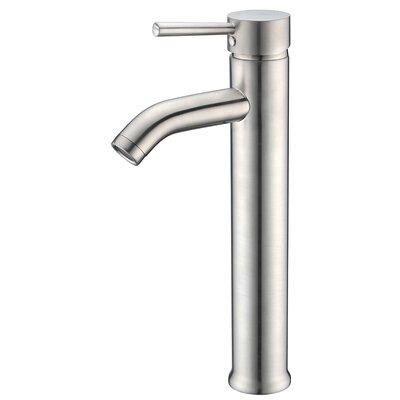 Fann Single Handle Vessel Lever Bathroom Faucet with Drain Assembly Finish: Brushed Nickel