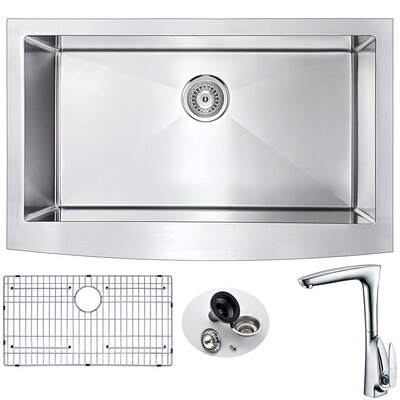 Elysian 32.875 x 20.75 Single Bowl Farmhouse Kitchen Sink with Faucet Faucet Finish: Polished Chrome