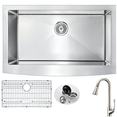 Elysian 32.875 x 20.75 Single Bowl Farmhouse Kitchen Sink with Faucet Faucet Finish: Brushed Nickel