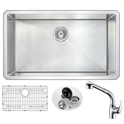 Vanguard 32 x 19 Single Bowl Undermount Kitchen Sink with Faucet Faucet Finish: Chrome