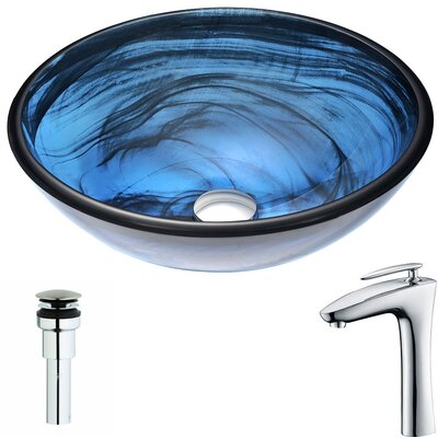 Soave Glass Circular Vessel Bathroom Sink with Faucet