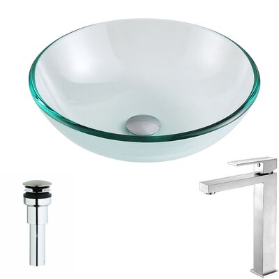 Etude Glass Circular Vessel Bathroom Sink with Faucet Faucet Finish: Brushed Nickel