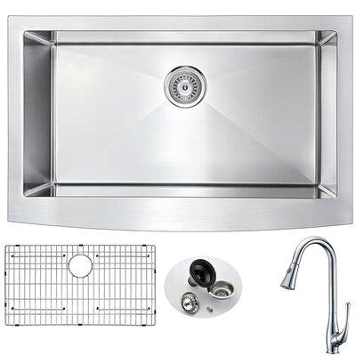 Elysian 32.875 x 20.75 Single Bowl Farmhouse Kitchen Sink with Faucet Faucet Finish: Polished Chrome
