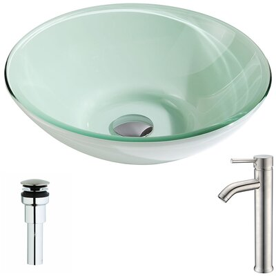 Sonata Glass Circular Vessel Bathroom Sink with Faucet Faucet Finish: Polished Chrome