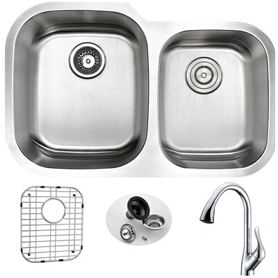 Moore 32 x 20.75 Double Bowl Undermount Kitchen Sink with Faucet and Drain Assembly Faucet Finish: Polished Chrome