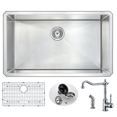 Vanguard 32 x 19 Single Bowl Undermount Kitchen Sink with Faucet and Drain Assembly Faucet Finish: Polished Chrome