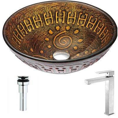 Opus Glass Circular Vessel Bathroom Sink with Faucet Faucet Finish: Brushed Nickel